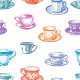 Картина чашек чая иллюстрация вектора