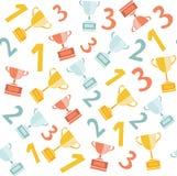 Картина чашек чемпионов Top-3 безшовная Стоковые Фото