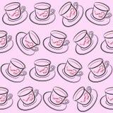 картина чашки безшовная Стоковые Изображения RF