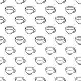 Картина чашки чая черно-белая безшовная Стоковые Изображения RF