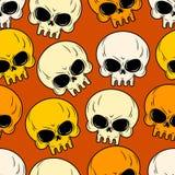 Картина черепа безшовная Текстура головного скелета Стоковое Изображение RF