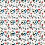 Картина черепов безшовная с белой предпосылкой Стоковая Фотография RF
