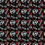 Картина черепов безшовная с черной предпосылкой Стоковые Фото