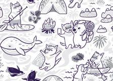 Картина чернил безшовная с милым Tasmanian дьяволом и другими австралийскими животными в стиле мультфильма r иллюстрация штока