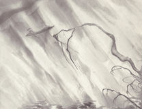 Картина чернил ландшафта дождя Стоковое Фото