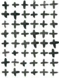 Картина чернил безшовная перекрестная Абстрактная печать с ходами щетки Monochrome текстура нарисованная рукой Художническое tile Стоковые Фото