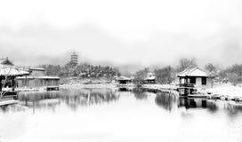 Картина чернил в китайском саде Стоковые Изображения RF