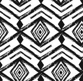 Картина черного племенного вектора Навахо безшовная с элементами doodle иллюстрация вектора
