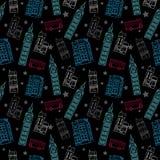 Картина черноты символов Лондона вектора безшовная с башней большого Бен, шиной двойной палуба, домами и звездами Стоковое Изображение RF