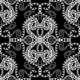 Картина черно-белого вектора Пейсли безшовная Флористическая линия руки стиля tracery искусства орнамент орнаментальной этническо иллюстрация штока