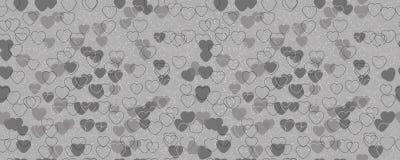 Картина черно-белых сердец Горизонтально и вертикально безшовная предпосылка иллюстрация штока