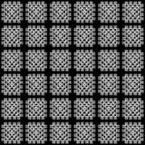Картина черно-белого одеяла вязания крючком квадрата бабушки безшовная, вектор Стоковое Изображение