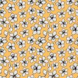 Картина черно-белого стиля цветка ретро безшовная Желтая предпосылка Стоковое Изображение RF