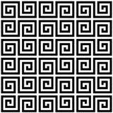 Картина черно-белой геометрической греческой спирали меандра традиционная безшовная, вектор бесплатная иллюстрация