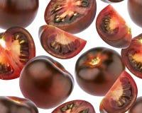 Картина черных томатов безшовная Черный томат изолированный на белой предпосылке Стоковые Фотографии RF