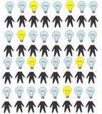 Картина шаржа безшовная много людей silhuette с дизайном идеи гения схематическим Стоковые Фотографии RF