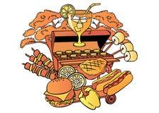 Картина шаржа с объектами барбекю бесплатная иллюстрация
