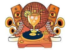 Картина шаржа с объектами партии музыки иллюстрация штока