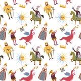 Картина шаржа с средневековыми характерами на белой предпосылке иллюстрация вектора