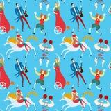 Картина шаржа художников цирка безшовная Стоковое фото RF