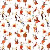 Картина шаржа цирка безшовная декоративная ретро Стоковые Фото