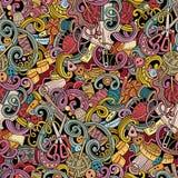 Картина шаржа handmade и шить doodles безшовная Стоковая Фотография
