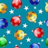 Картина шарика рождества безшовная на голубой предпосылке иллюстрация вектора