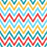 Картина шеврона этнического красочного конспекта ikat геометрическая в белом, голубом, красном цвете и желтом цвете, Стоковые Фото