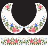 Картина шеи вышивки традиционная с красными и голубыми розами Стоковое Изображение RF