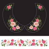 Картина шеи вышивки традиционная с розовыми розами и забывает m Стоковое Фото
