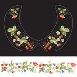 Картина шеи вышивки традиционная для воротника с клубниками и цветком Стоковое Изображение