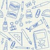 Картина школьных принадлежностей безшовная Стоковая Фотография RF