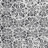 Картина шнурка безшовная с цветками и листьями черно-белая абстрактная предпосылка для места, блога, ткани вектор Стоковая Фотография RF