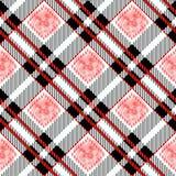 Картина шотландки тартана безшовная Красный и черный цвет Акварель безшовная иллюстрация вектора
