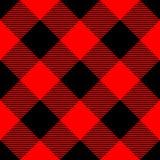 Картина шотландки Lumberjack в красном цвете и черноте вектор картины безшовный Простой винтажный дизайн ткани Стоковое Изображение RF