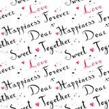 Картина шрифта рукописных винтажных чернил cursive с розовыми сердцами акварели Стоковые Фото