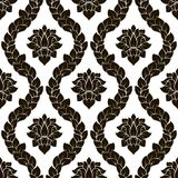 Картина штофа вектора флористическая безшовная Черно-белый Monochrome дизайн Стоковое Изображение