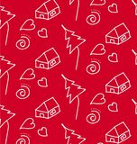 Картина штрихует детей Белизна на красном цвете Стоковые Изображения RF