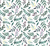 Картина ых-зелен листьев акварели глубоко и маленьких цветков безшовная бесплатная иллюстрация