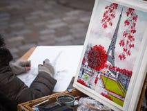 Картина Эйфелевой башни, Парижа, Франции Стоковое фото RF