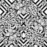 Картина эклектичной ткани безшовная Животная и геометрическая предпосылка с барочным орнаментом иллюстрация вектора