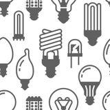 Картина электрических лампочек безшовная с плоскими значками глифа Типы ламп, дневной приведенные, нить, галоид, диод и другое иллюстрация вектора