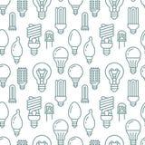 Картина электрических лампочек безшовная с плоской линией значками Типы ламп, дневной приведенные, нить, галоид, диод и другое бесплатная иллюстрация