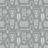 Картина электрических лампочек безшовная с плоской линией значками Типы ламп, дневной приведенные, нить, галоид, диод и другое иллюстрация вектора