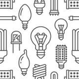 Картина электрических лампочек безшовная с плоской линией значками Типы ламп, дневной приведенные, нить, галоид, диод и другое иллюстрация штока