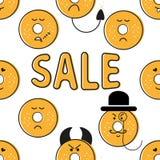 Картина эмоций donuts печати черная желтая Стоковая Фотография
