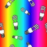 Картина энергосберегающих электрических лампочек безшовная также вектор иллюстрации притяжки corel Стоковое Изображение