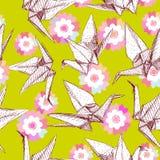 Картина эскиза белой бумаги Origami установленная кранами безшовная Предпосылка природы восточная с японцем Сакурой цветет и птиц Стоковое фото RF