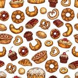 Картина эскиза хлеба вектора и печенья десертов бесплатная иллюстрация