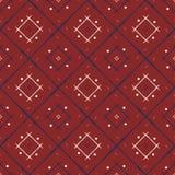 Картина этнического стиля красная, белая и голубая плитки Геометрическая линия Стоковое Фото